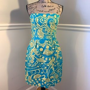 BETH BOWLEY Anthro Embroidered Strapless Dress 8